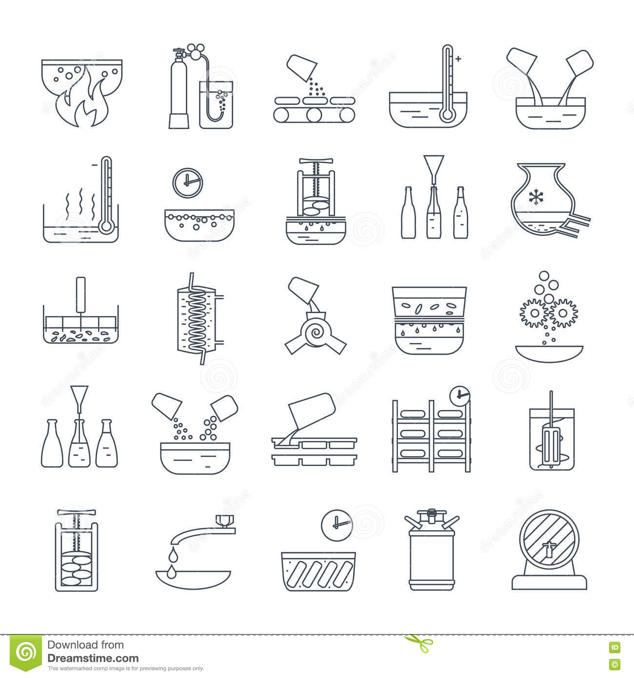 Set Of Thin Line Icons Beverage Production Stock Vector