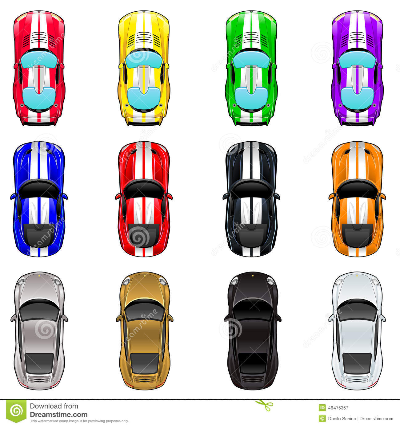 Set Of Three Cars In Four Different Colors Stock Vector