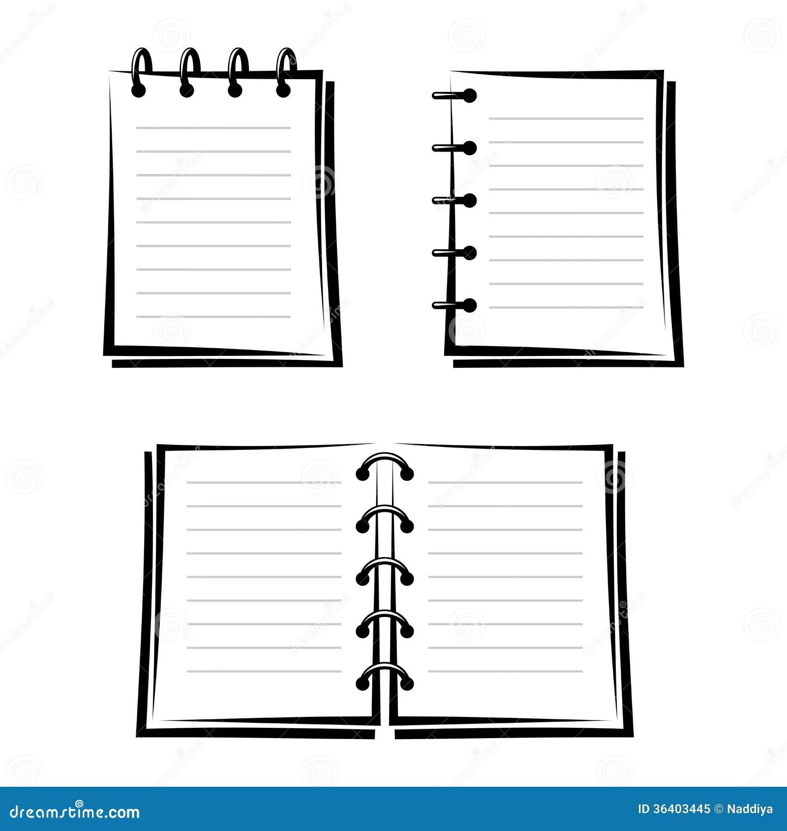 Set Of Three Notebooks Stock Vector Image Of Monochrome
