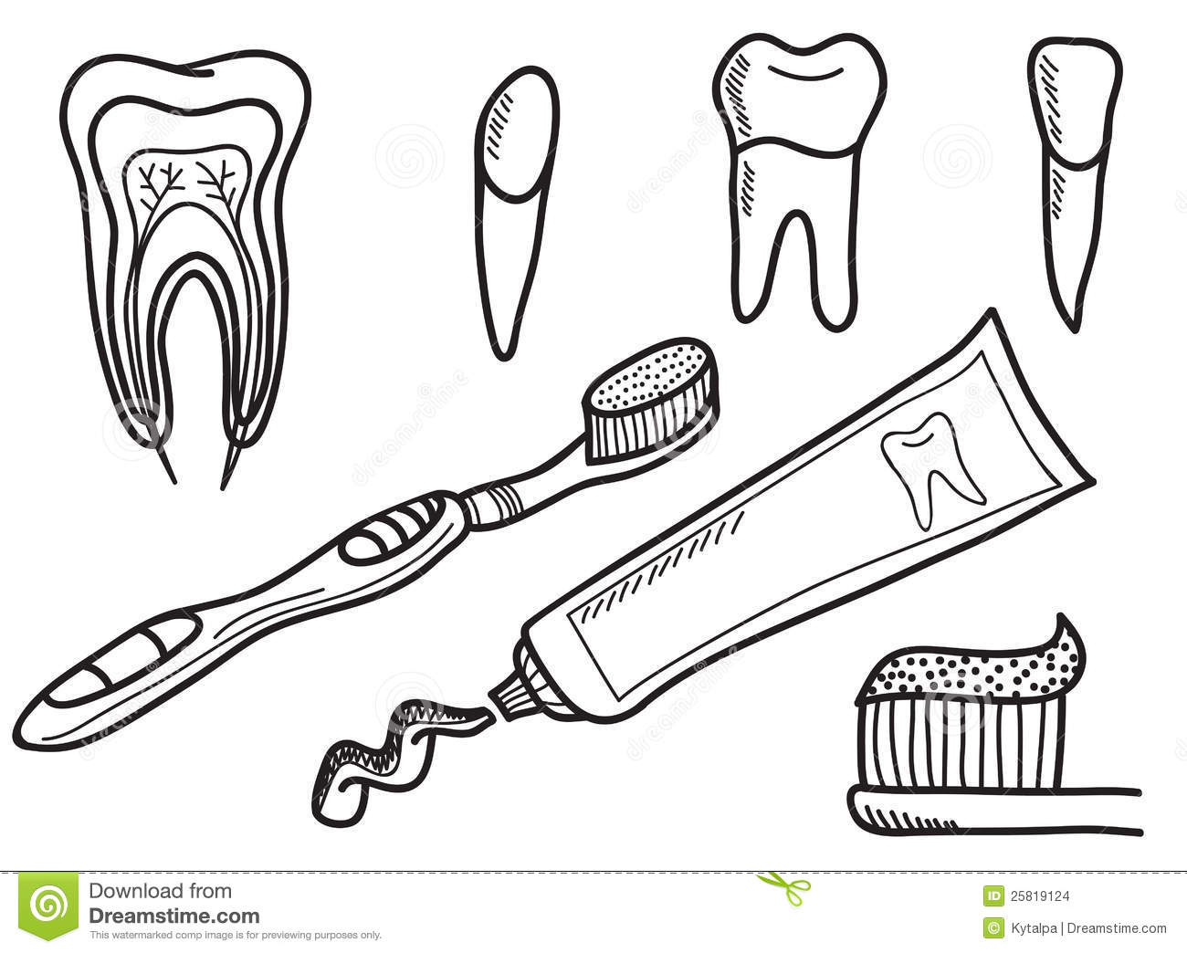 Set Of Tooth Brushing Icons Stock Images