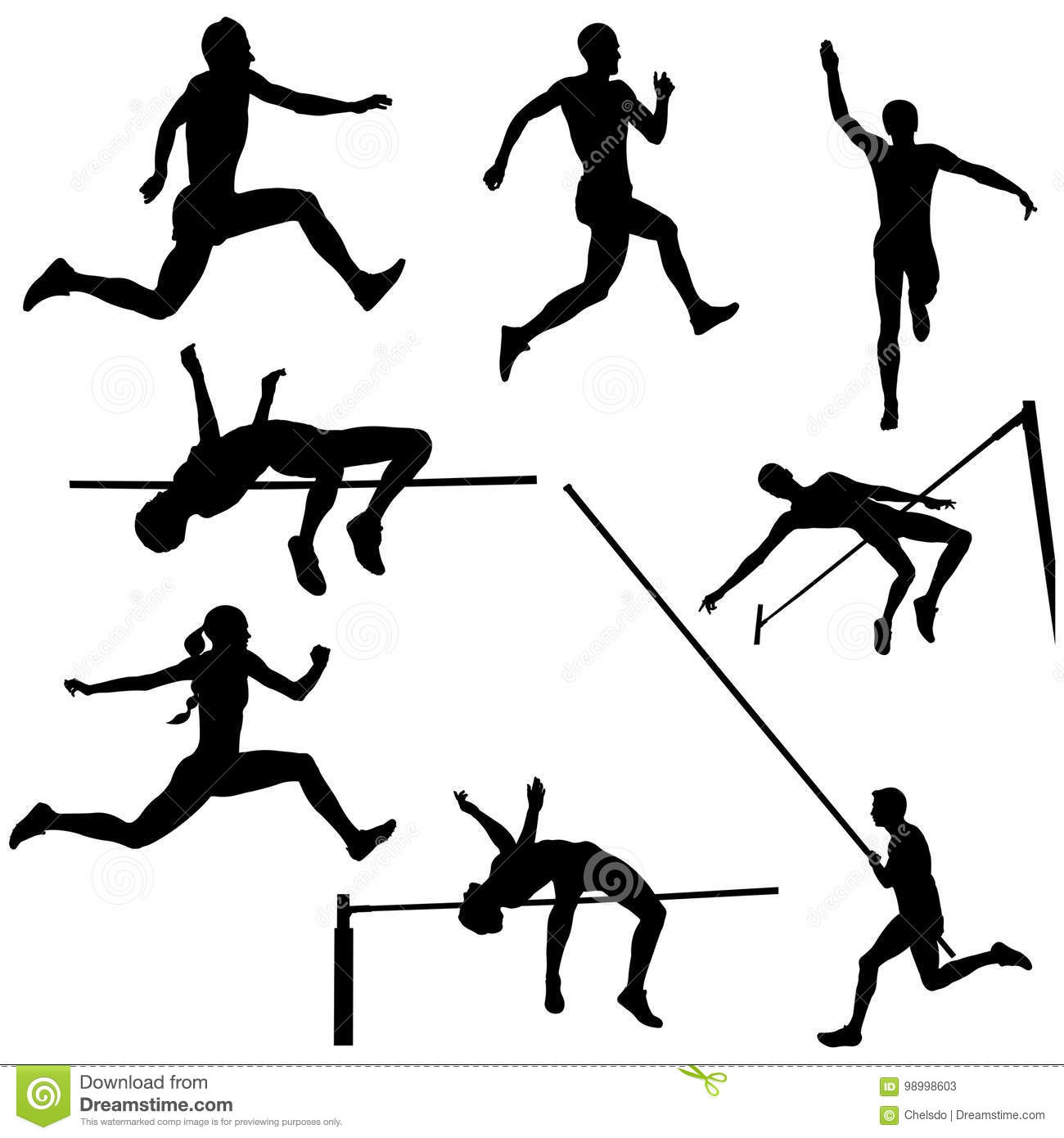 Set Track And Field Sports Jumping Stock Vector