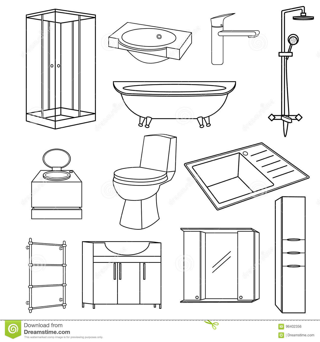 Bathroom And Toilet Flat Style Vector Icons Isolated On