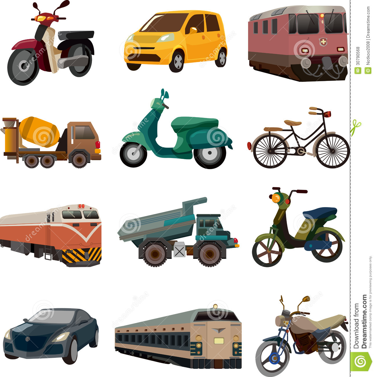 Set Of Transport Icons Stock Vector Illustration Of