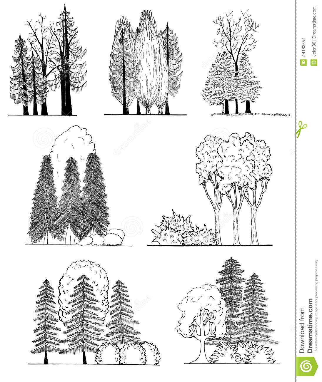 A Set Of Tree Silhouettes For Landscape Design Stock