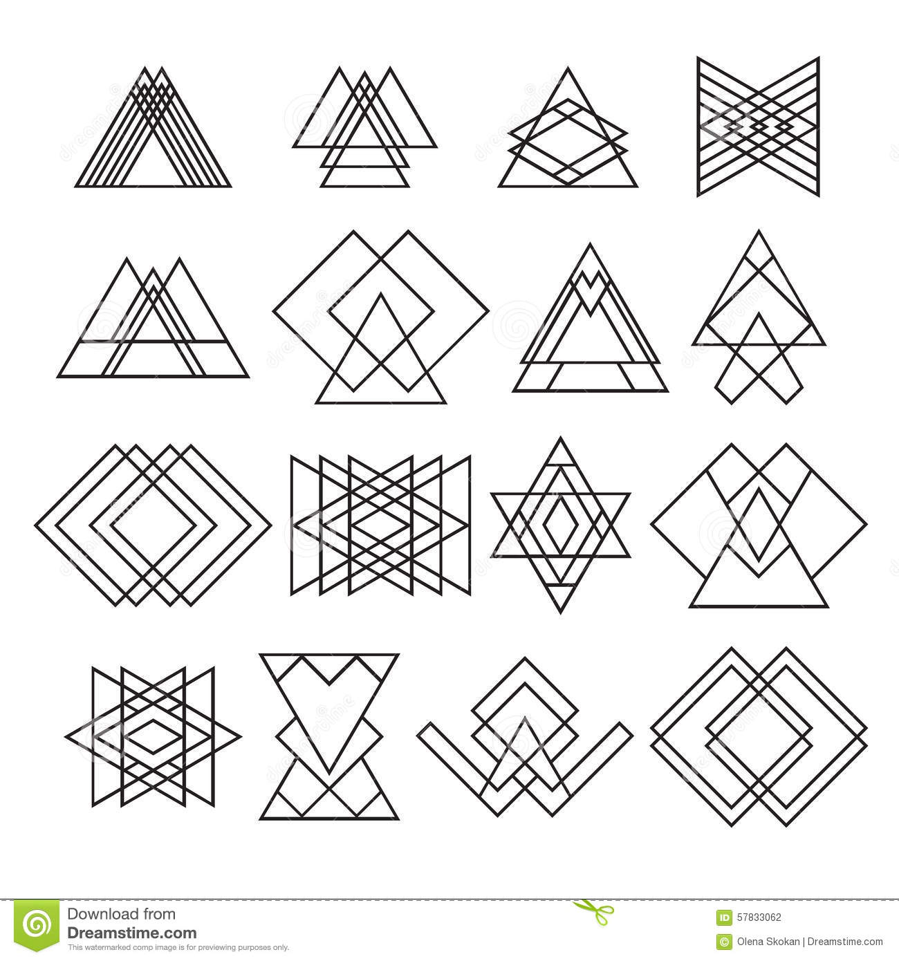 Set Of Trendy Hipster Geometric Shapes Geometric