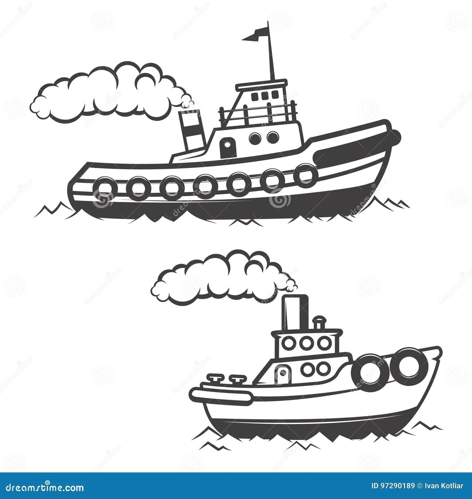 Set Of Tugboat Illustration Isolated On White Background