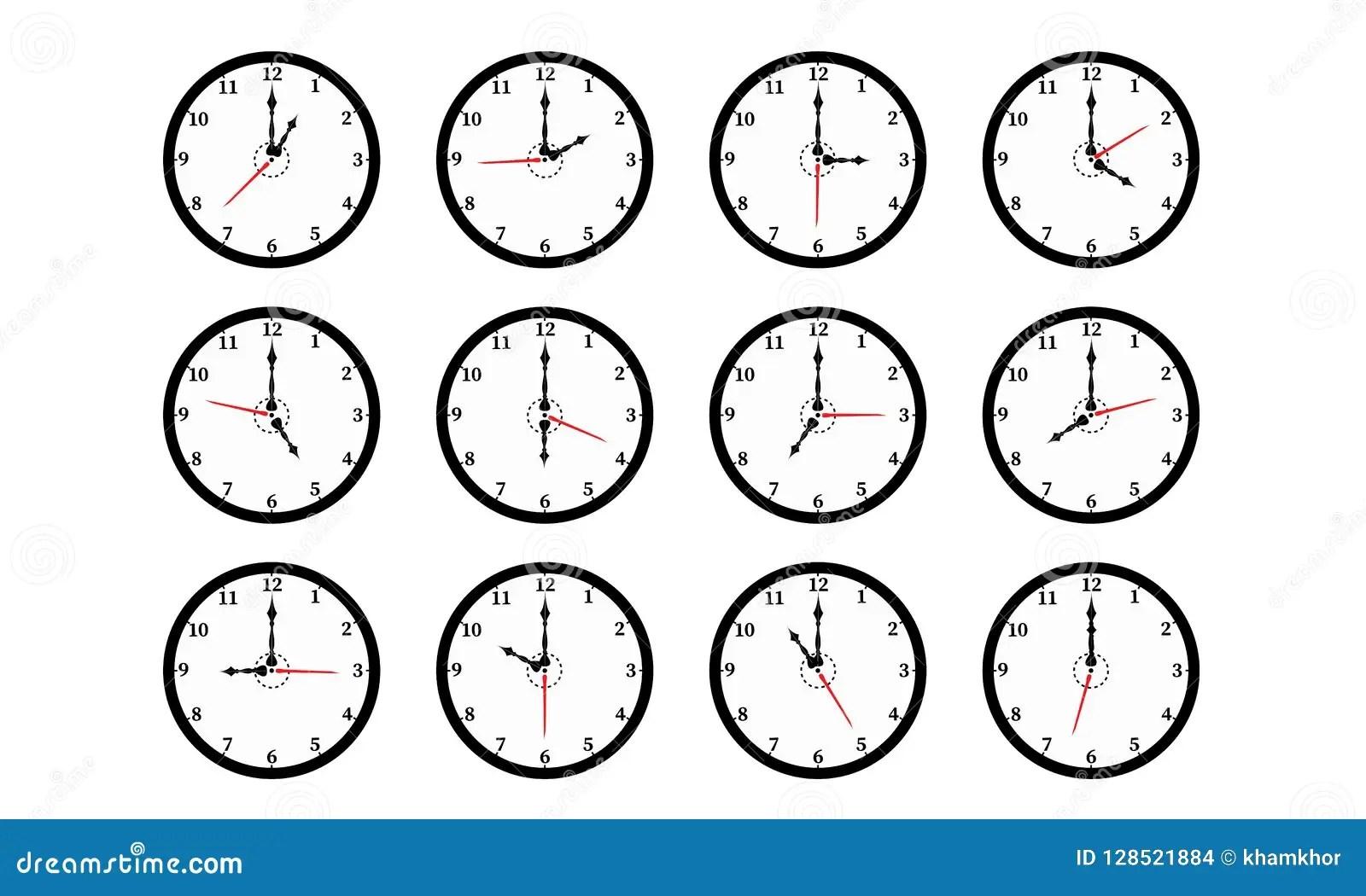 Set Of Twelve Round Black Color Wall Clocks Isolated On