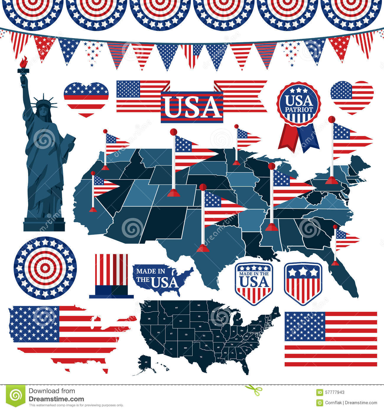 Set Of Usa Symbols Flags And Maps With States Stock