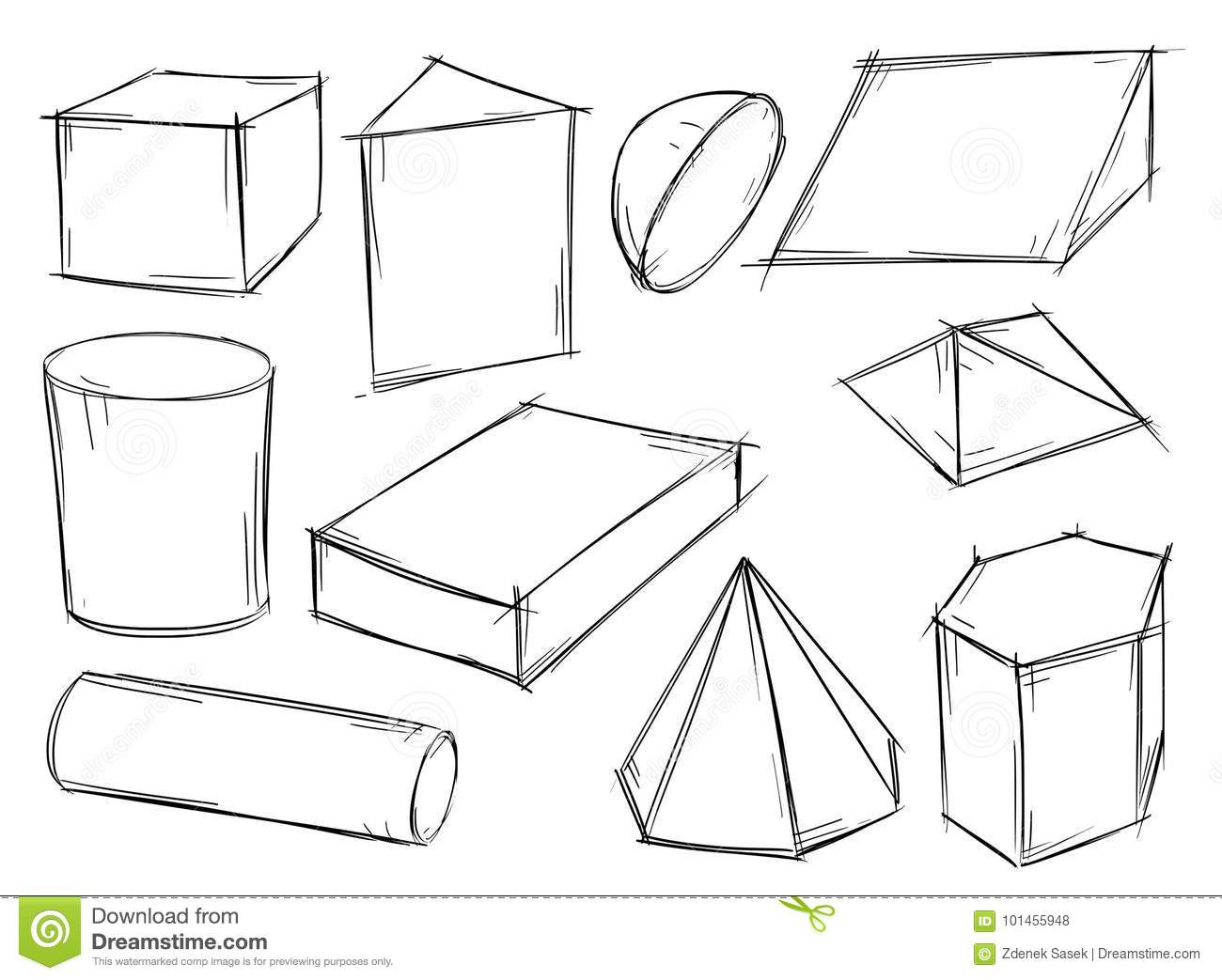 Set Of Sketchy 3d Geometrical Shapes Stock Vector