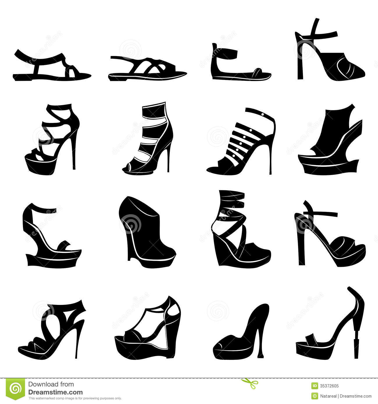Set Of Various Stylish Models Of Women Footwear Stock