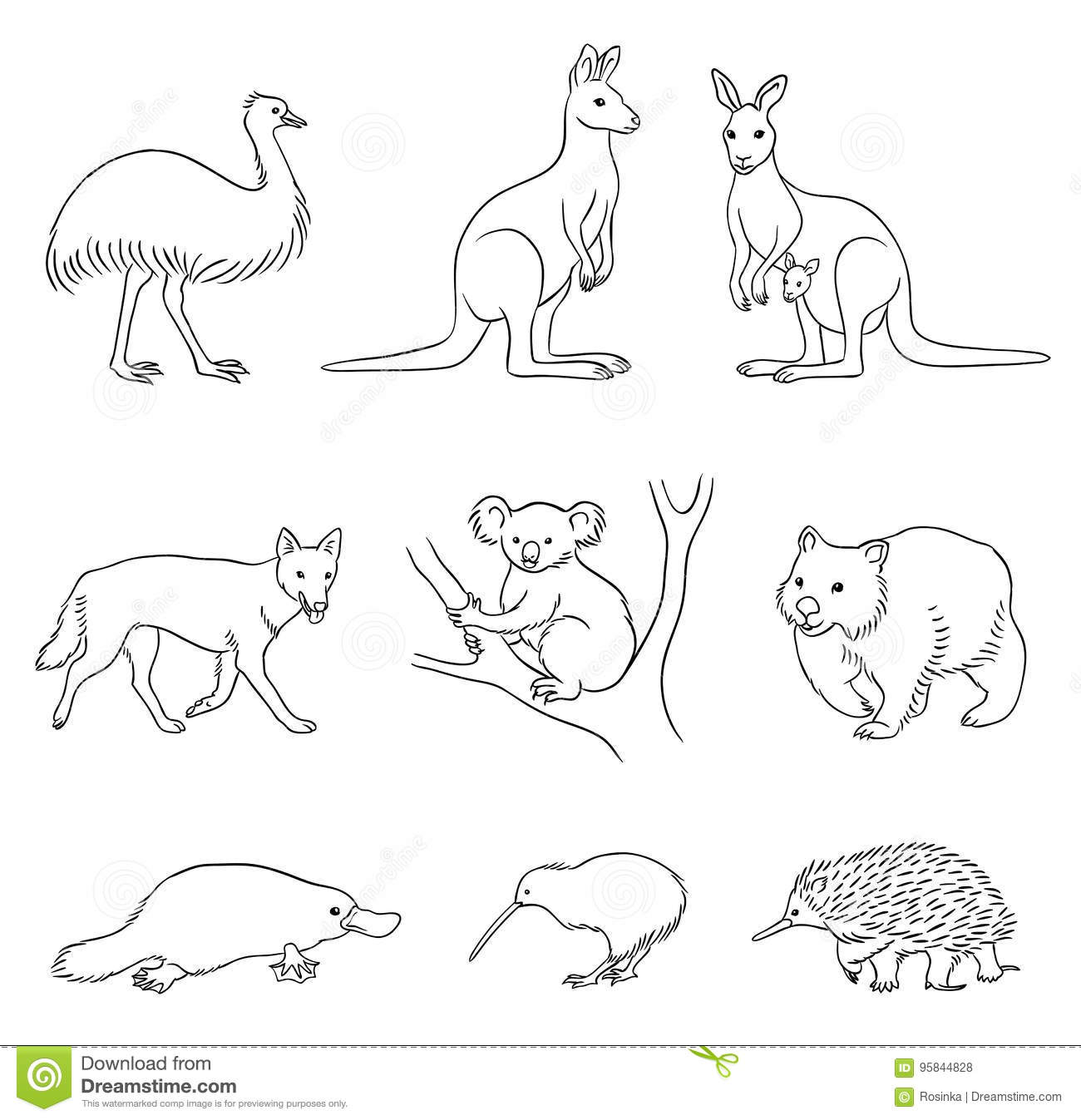 Set Of Vector Australian Animals In Contours Stock Vector