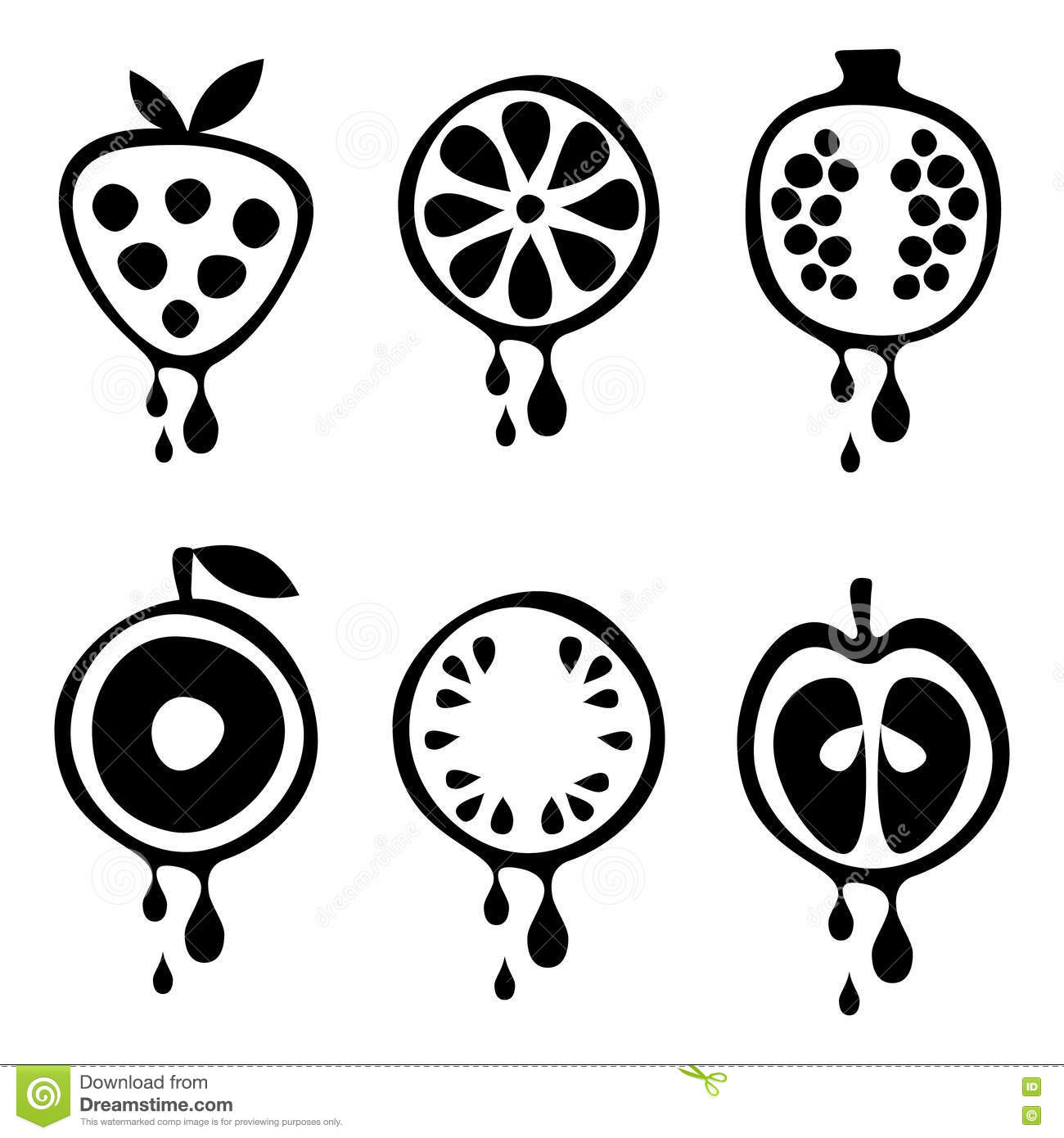 Set Of Vector Black And White Illustrations Of Fruits