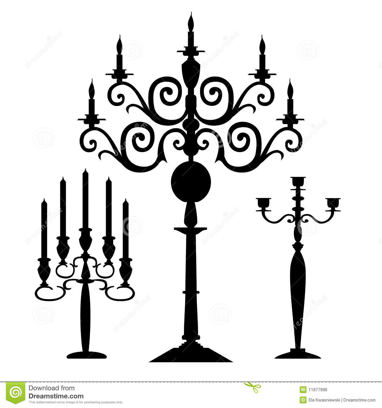 Set Of Vector Candelabra Silhouettes Royalty Free Stock