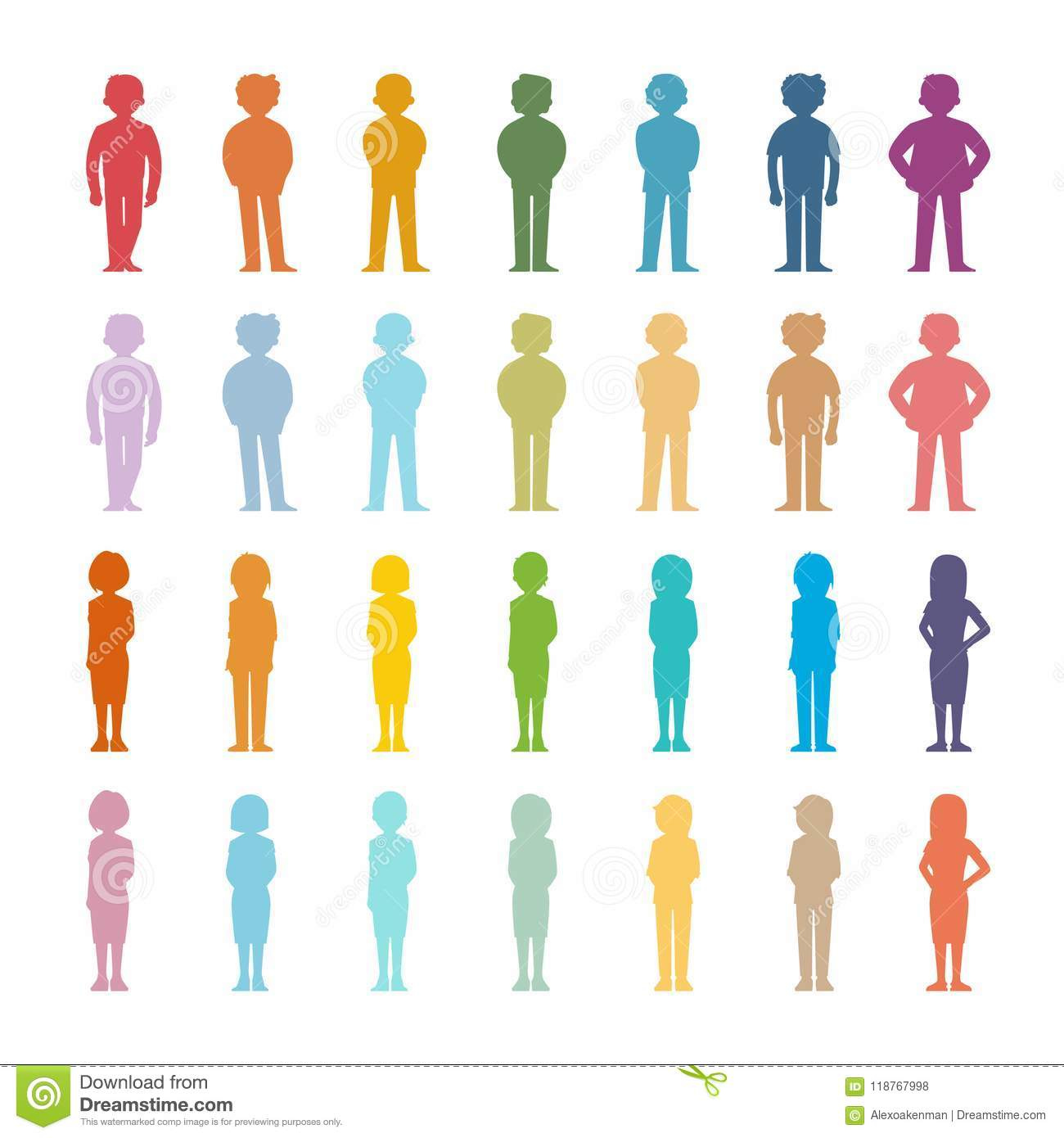 Set Of Vector Cartoon People Colored Outline Shapes Stock