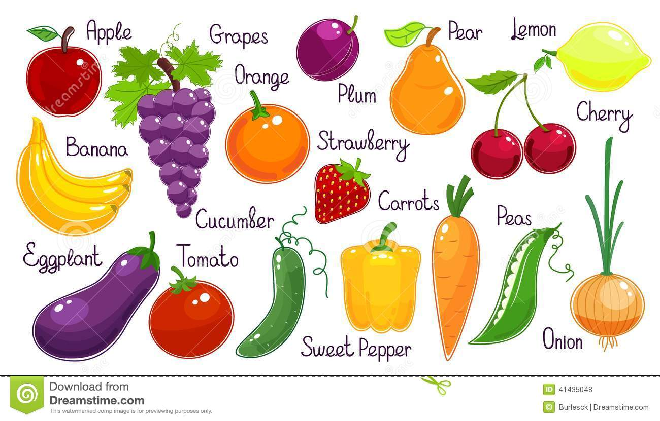 Set Of Vector Fresh Fruit And Vegetables Stock Vector