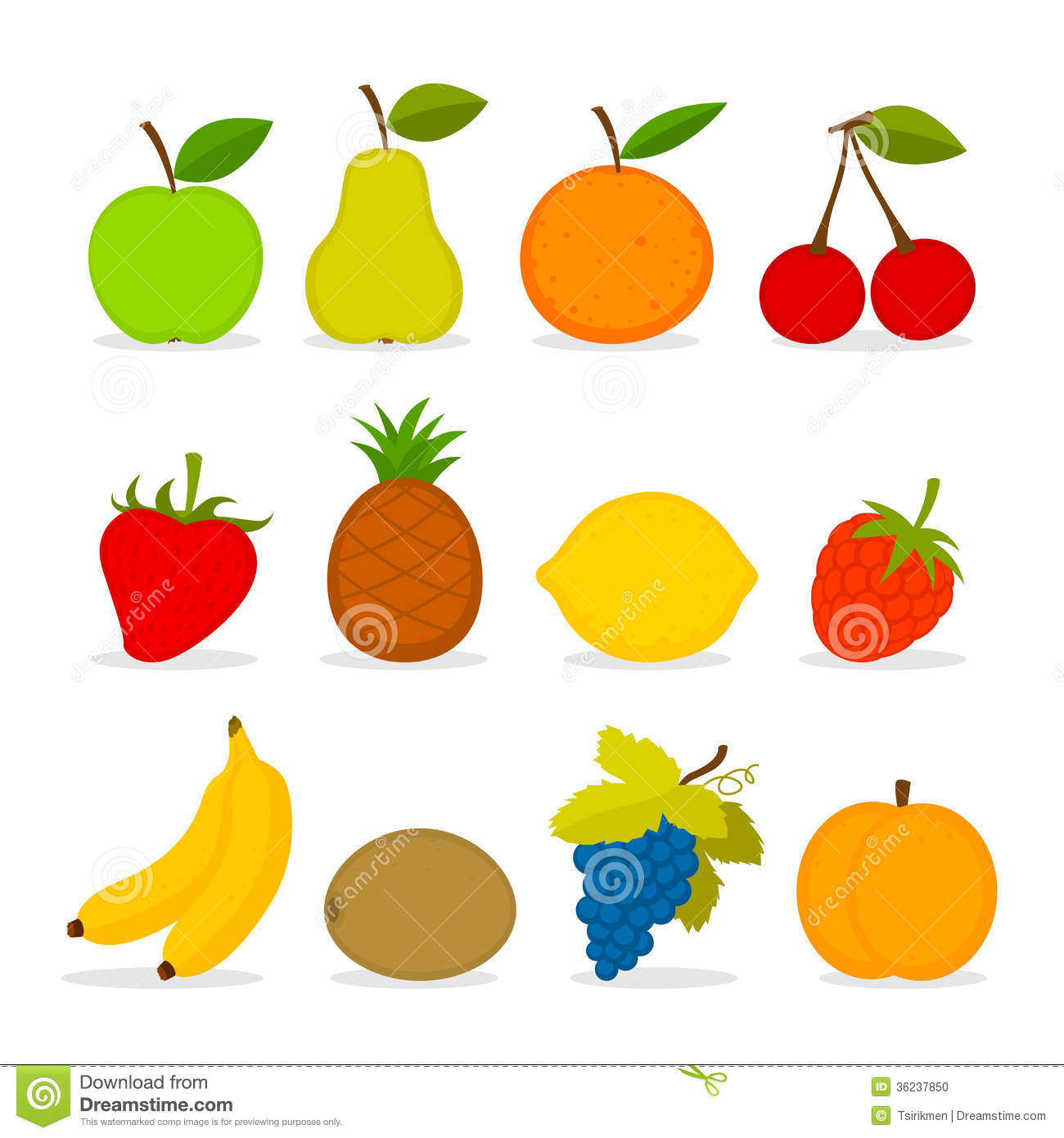 Set Of Vector Fruit Stock Photo