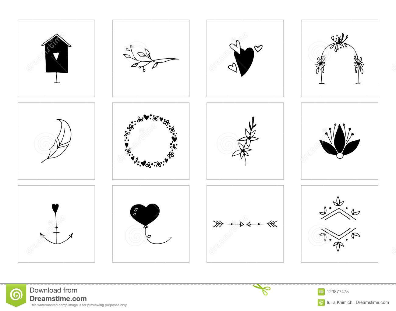 Romantic And Wedding Clipart Feminine Logo Elements Stock Vector