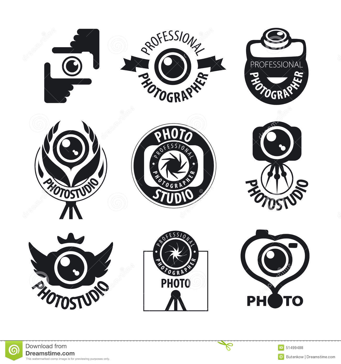 Set Of Vector Logos For Professional Photographer Stock