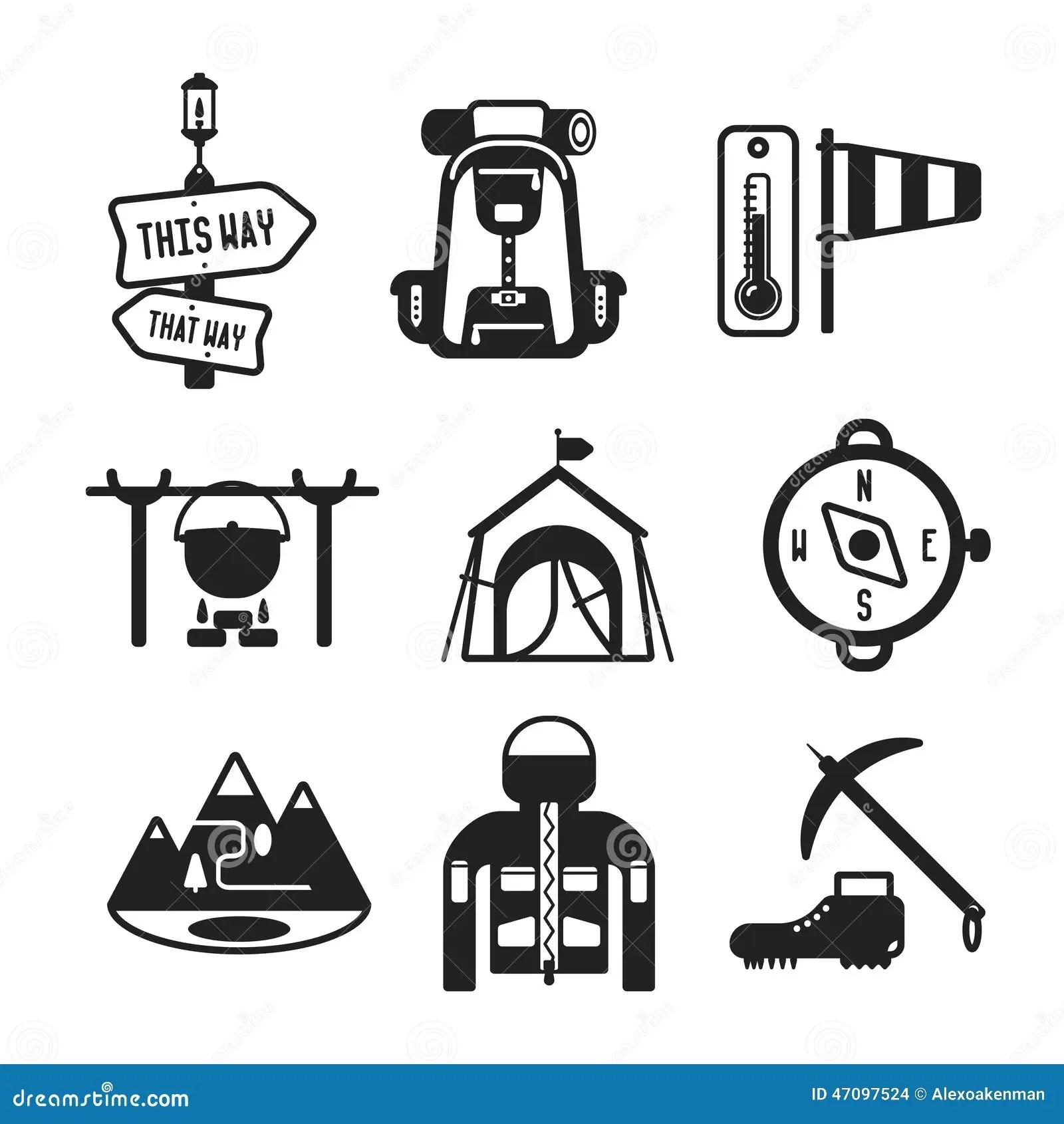 Camping Vector Icon Set On Gray Cartoon Vector