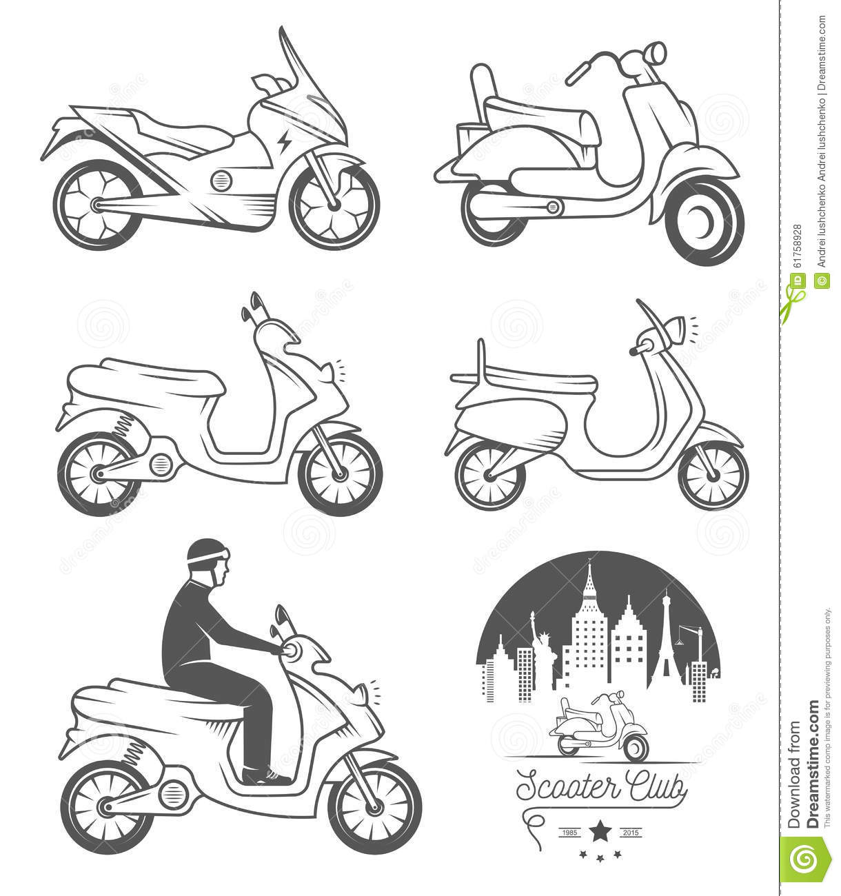 Set Vector Vintage Sign And Logos Scooter Stock
