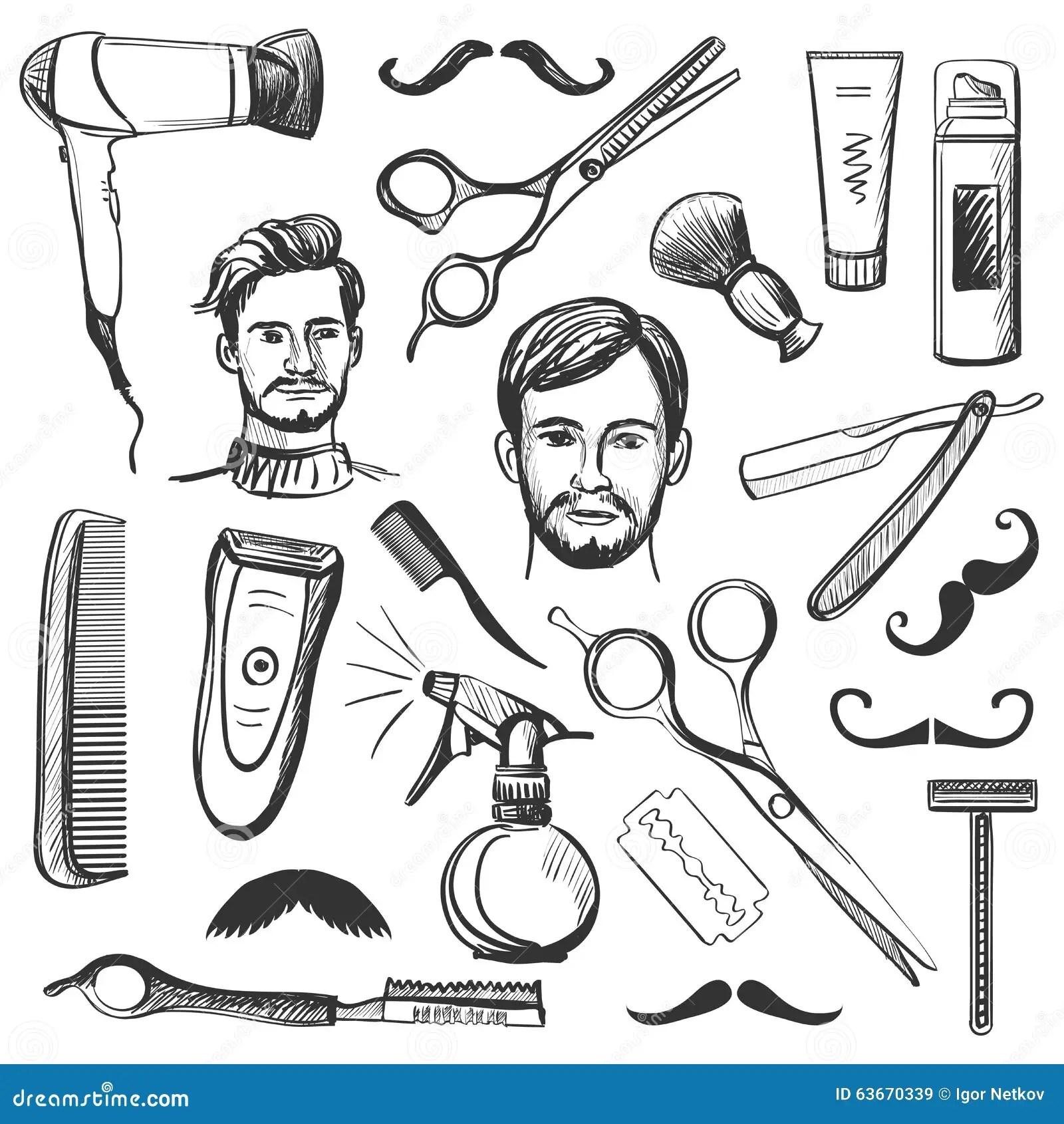 Set Of Vintage Barber Shop Elements Stock Vector Image