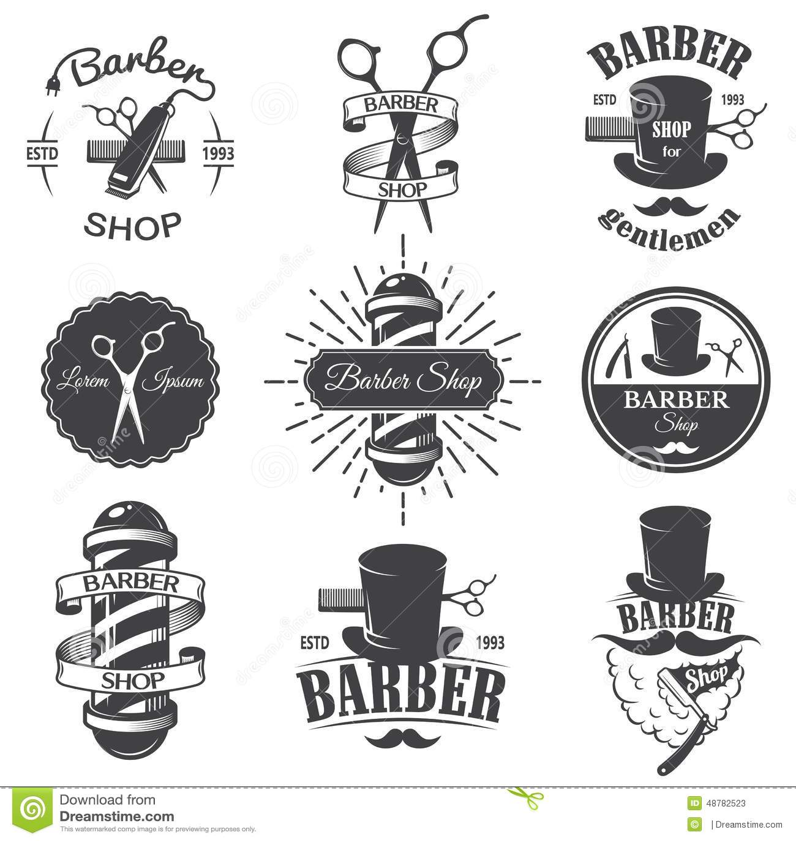 Set Of Vintage Barber Shop Emblems Stock Vector