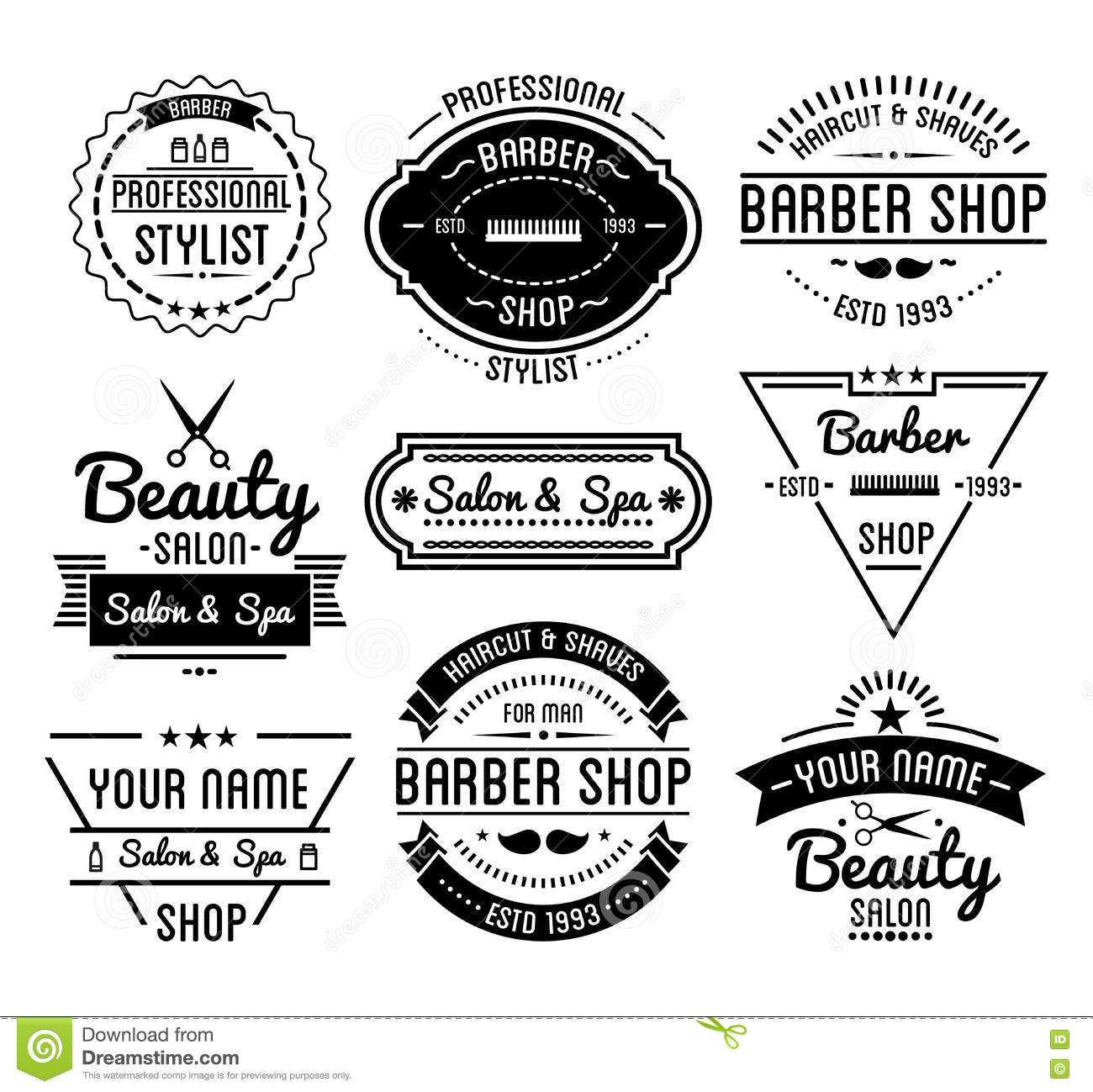 Set Of Vintage Barber Shop Logo And Beauty Spa Salon