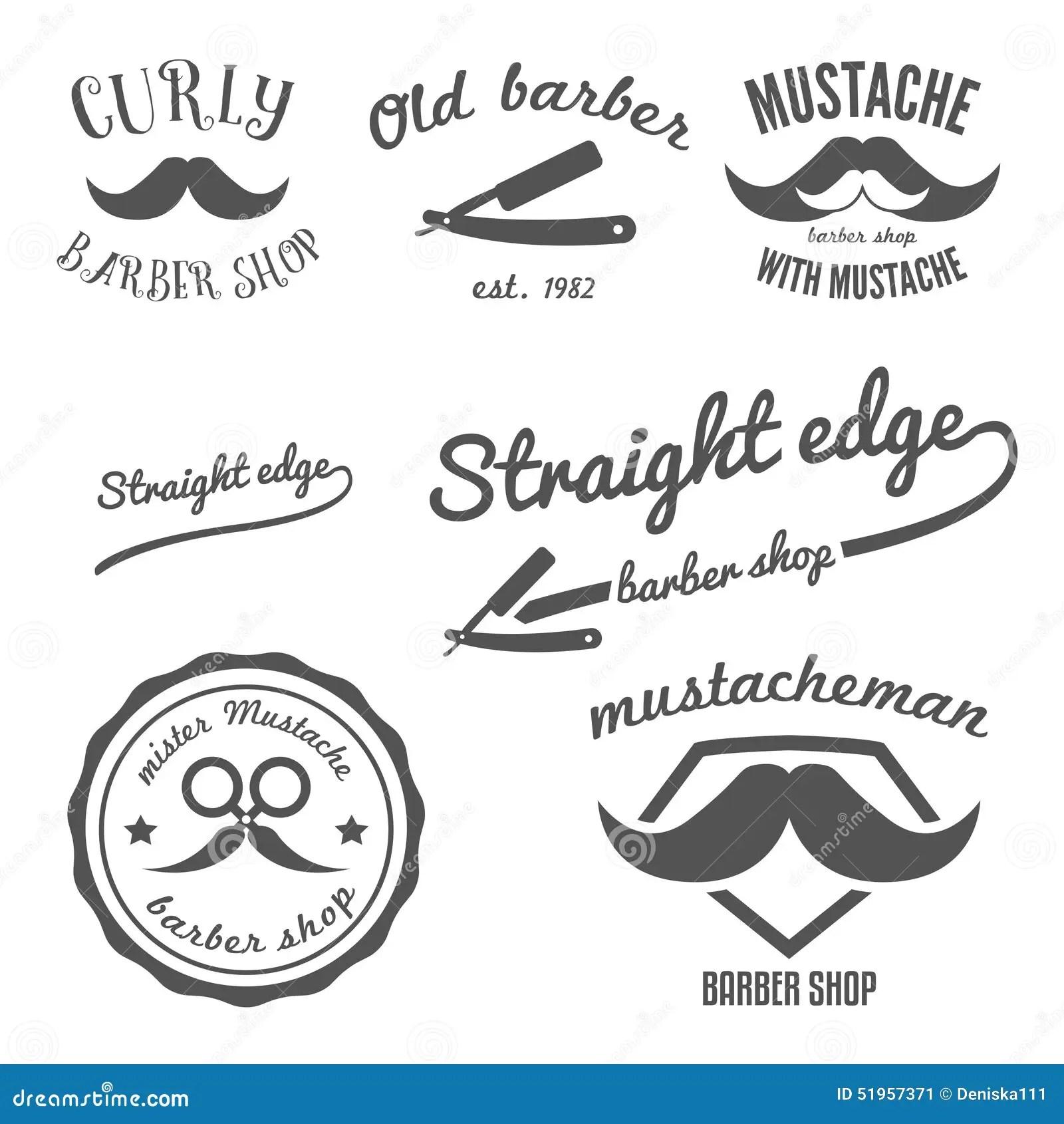 Set Of Vintage Barber Shop Logo Stickers Labels Stock