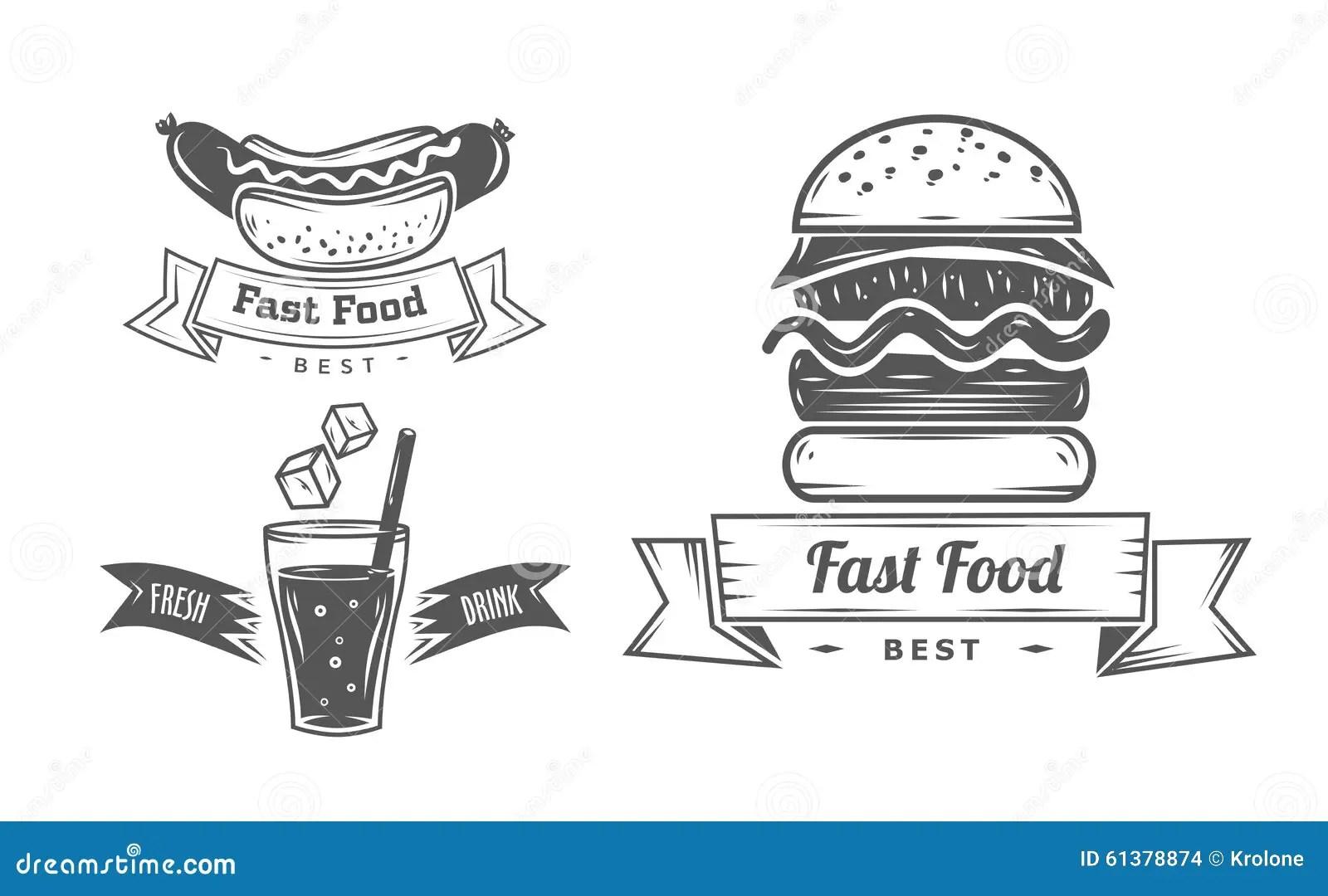 Burger Menu Restaurant Badges Fast Food Design Template