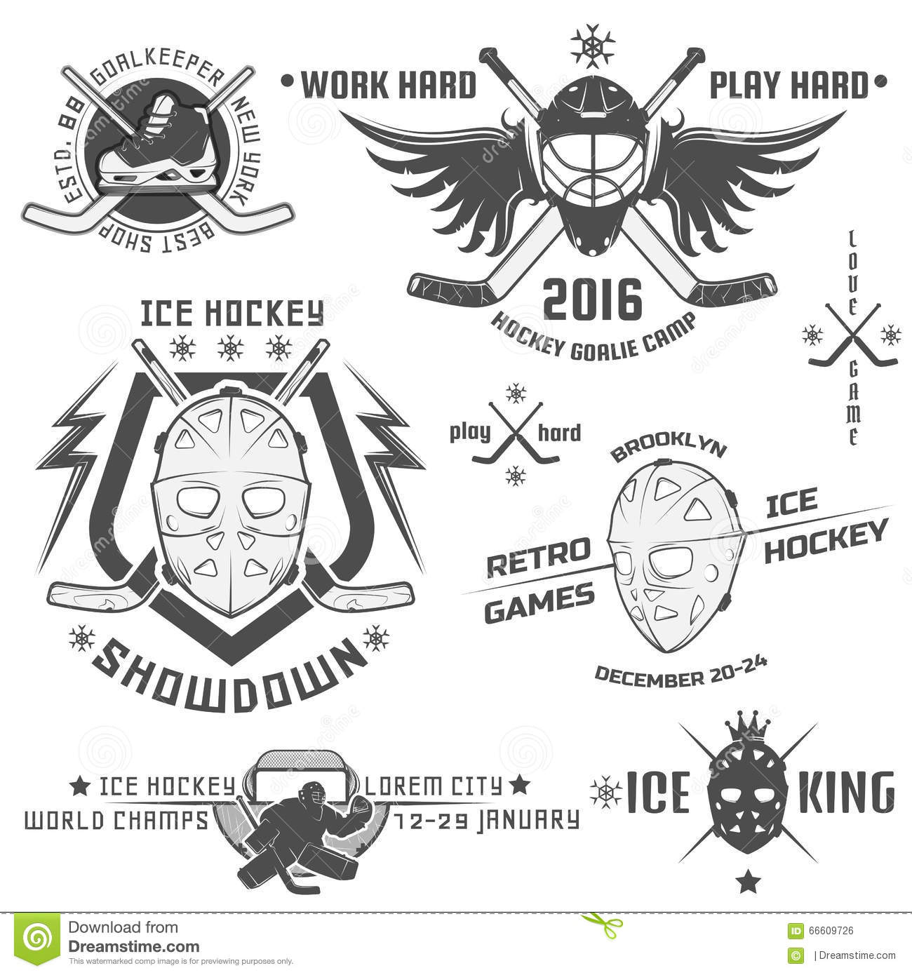 Set Of Vintage Ice Hockey Emblems Stock Vector
