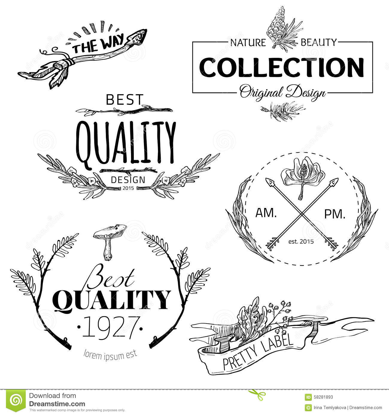 Set Of Vintage And Modern Farm Logo Labels Stock Vector