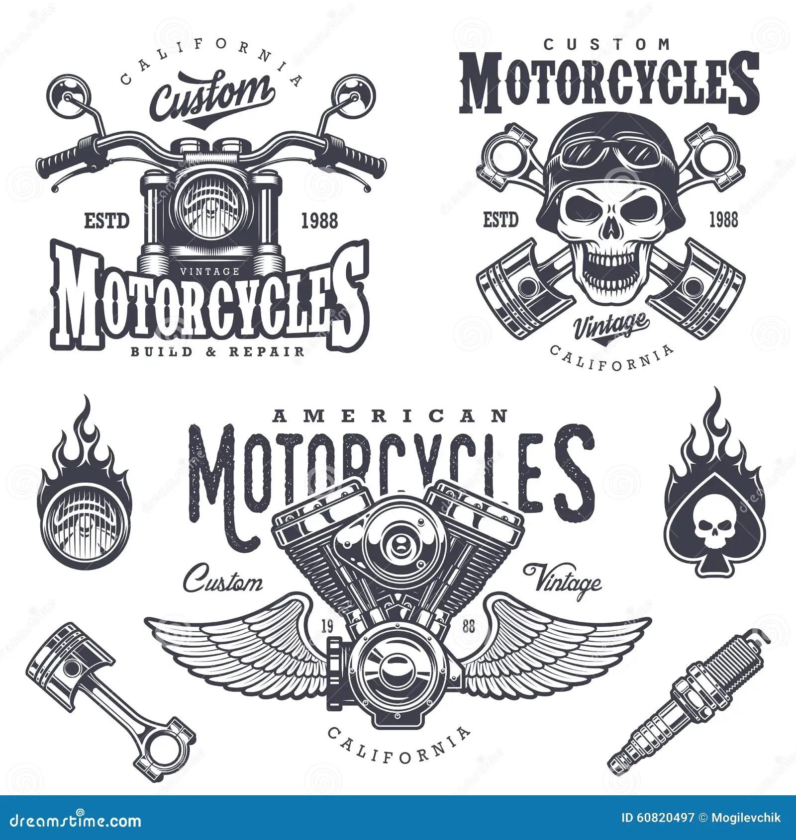 Set Of Vintage Motorcycle Emblems Stock Illustration