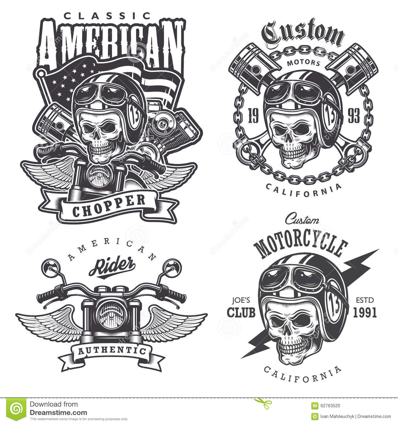 Set Of Vintage Motorcycle T Shirt Prints Stock Vector