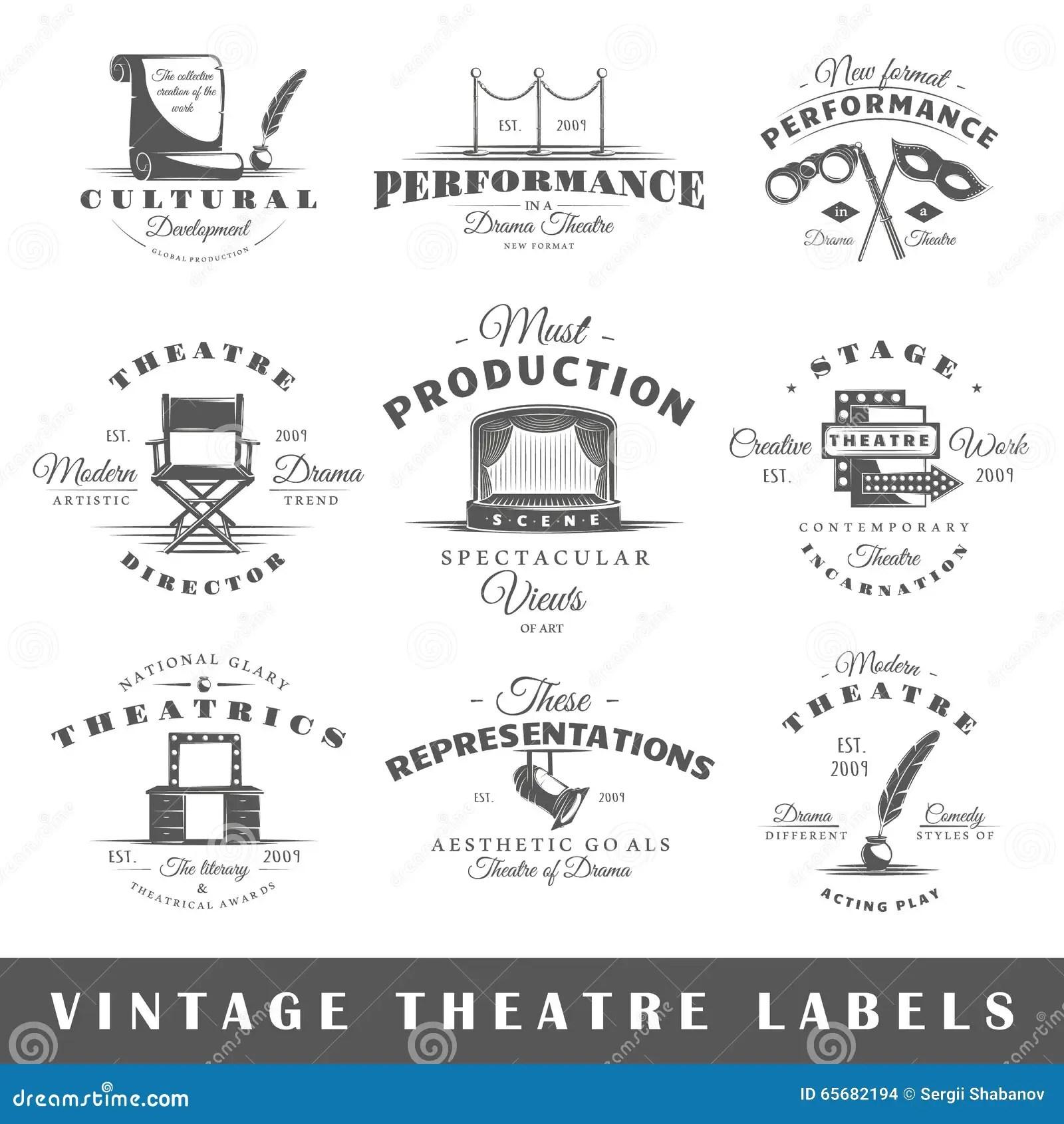 Set Of Vintage Theatre Labels Stock Vector