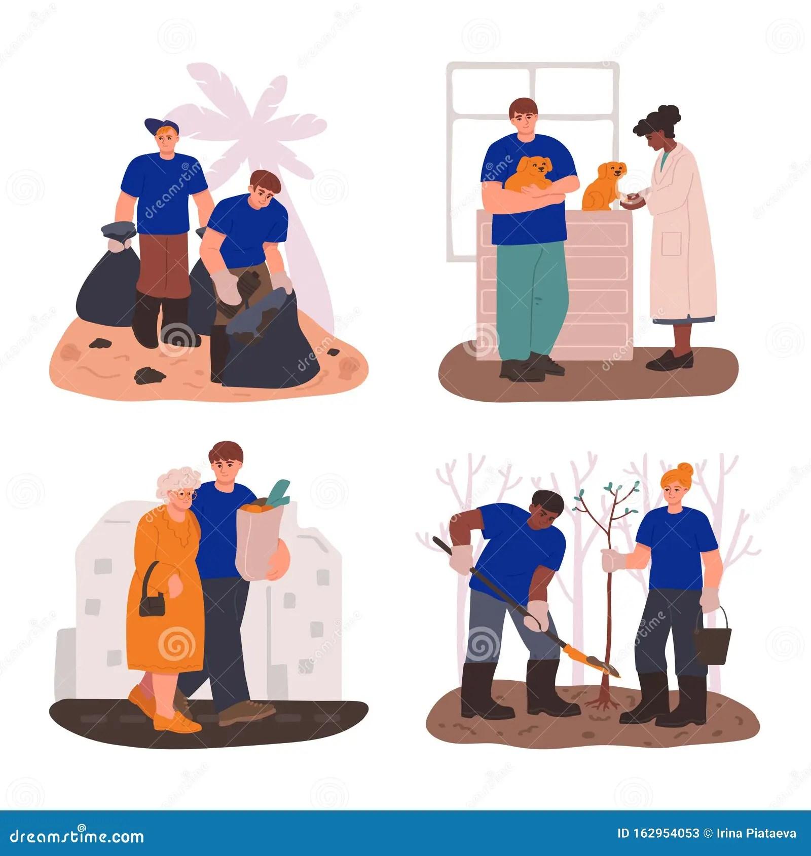 A Set Of Volunteer Help Situations Volunteers At Work