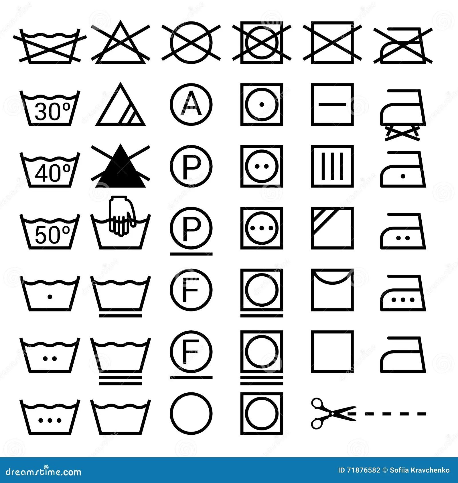 Set Of Washing Symbols Laundry Icons On White Backgrou