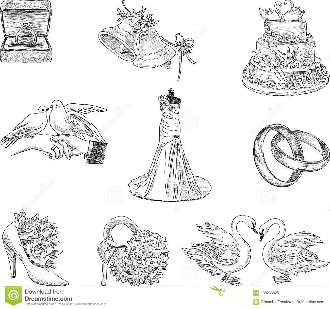 Set Of The Wedding Symbols Stock Vector Illustration Of