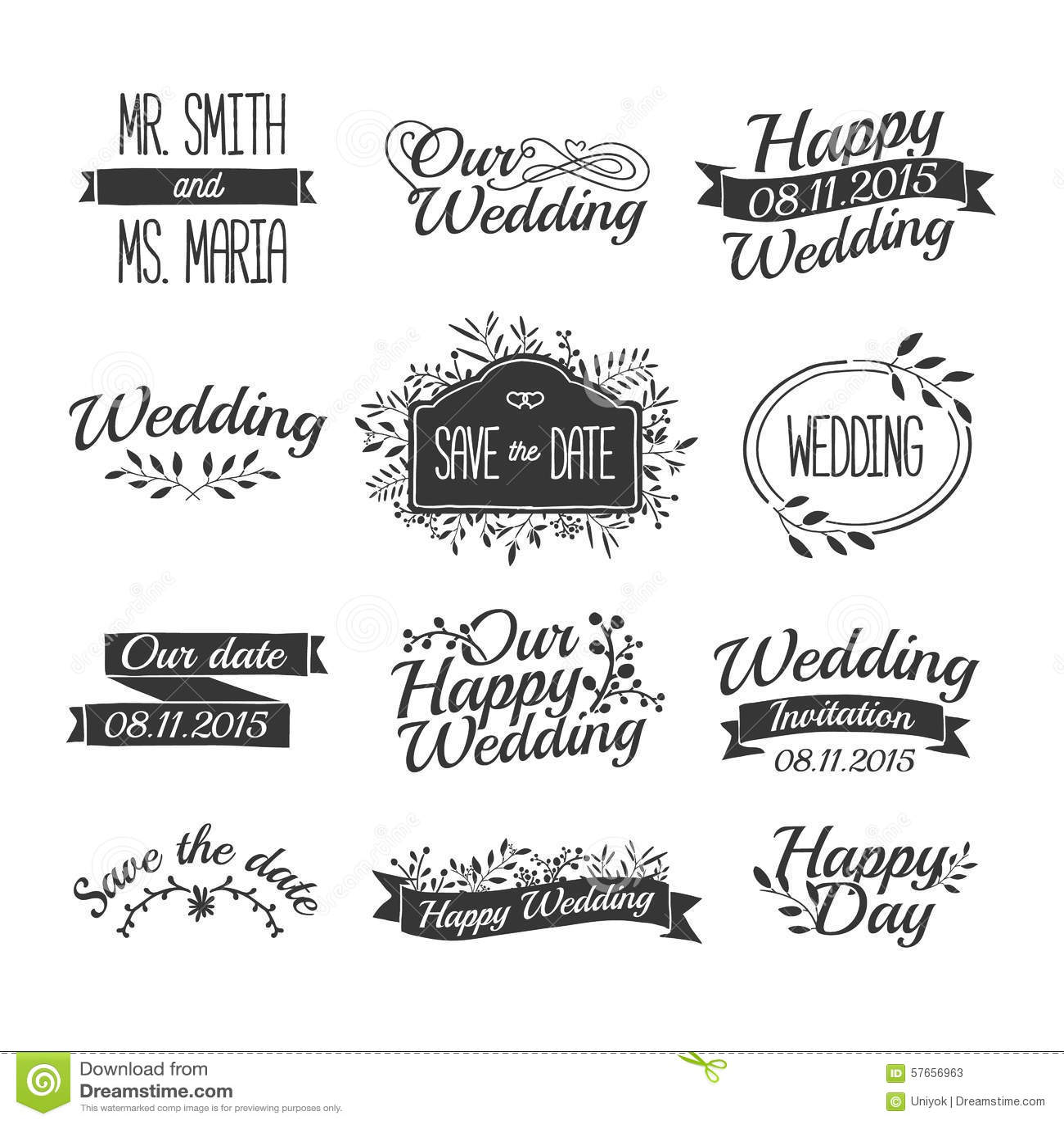 Set Of Wedding Vintage Retro Logos Signs Labels Stock