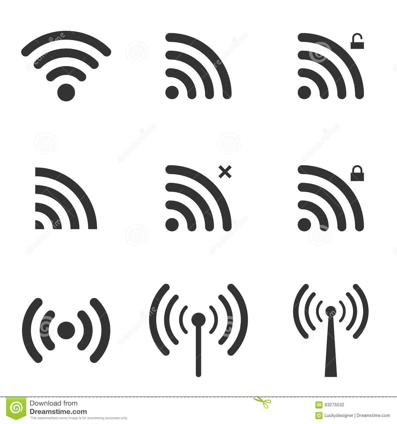 Set Of Wi Fi And Wireless Icons Wifi Zone Sign Remote