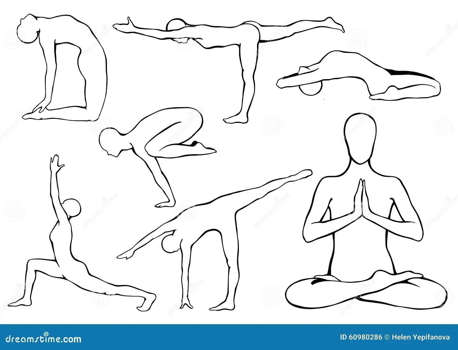 Set Of Yoga Asanas Stock Vector Illustration Of