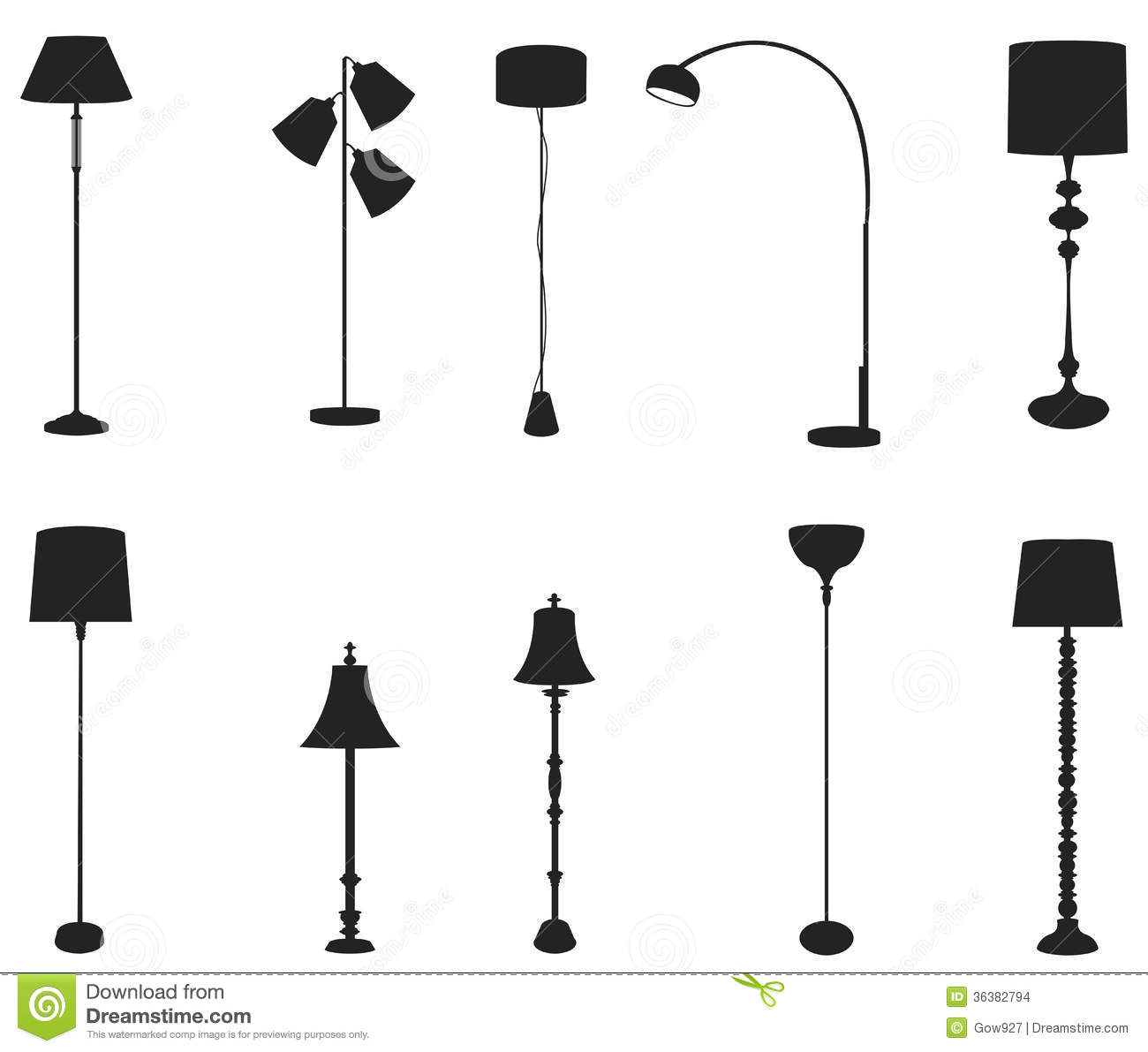 Sets Of Silhouette Floor Lamps Create By Vector Stock