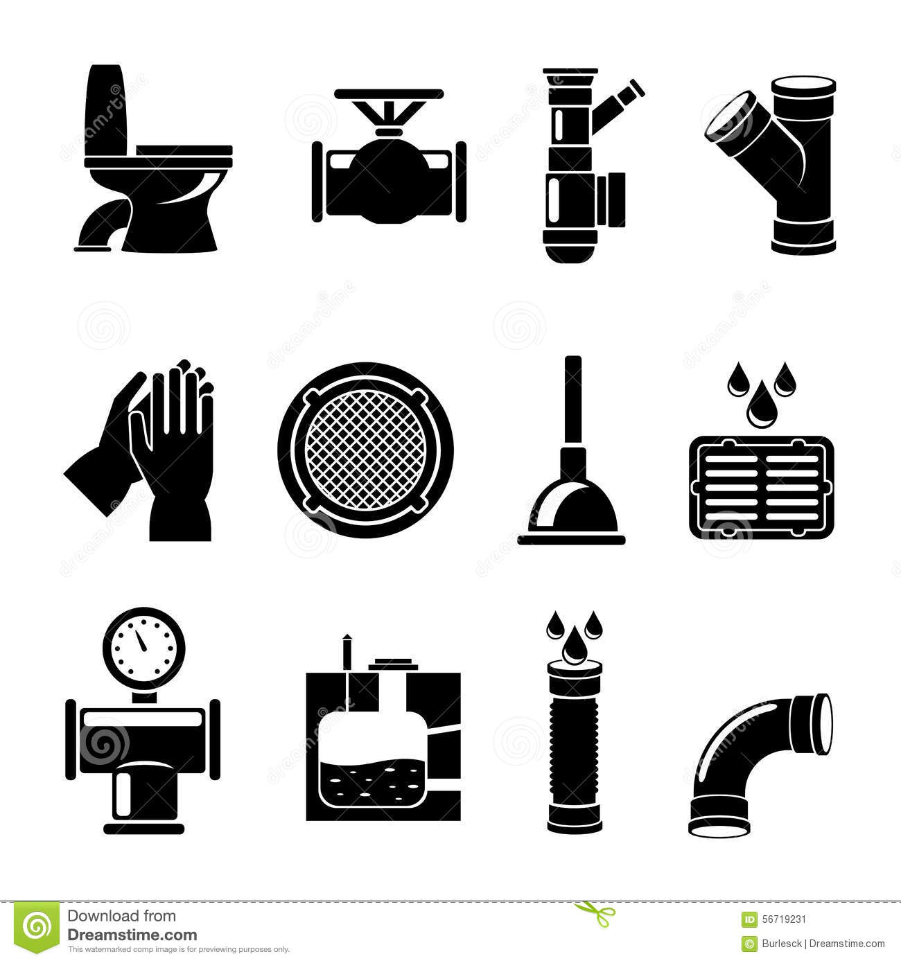 Sewerage Icons Set Stock Vector