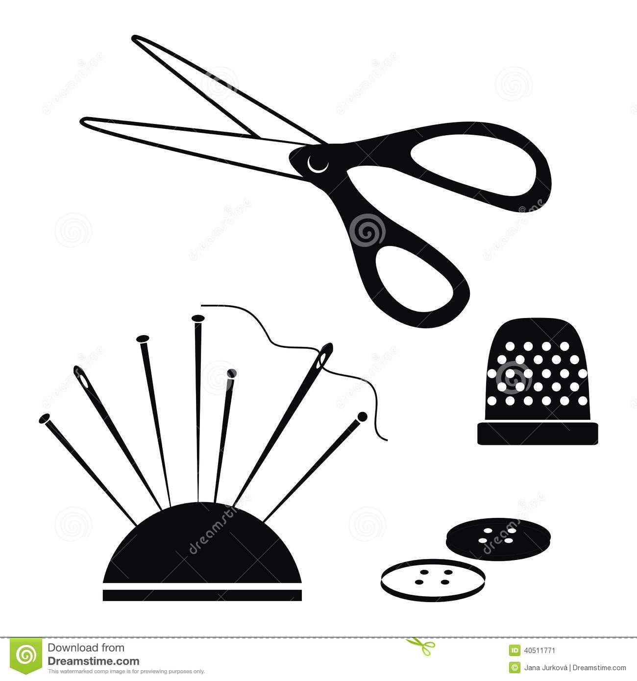 Sewing Supplies Stock Vector Image Of Black Silhouette