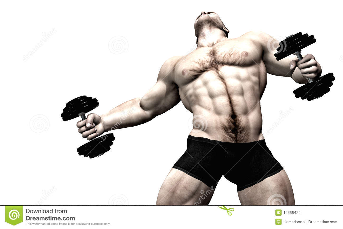 Male Body Builder Weight Lifter Stock Illustration