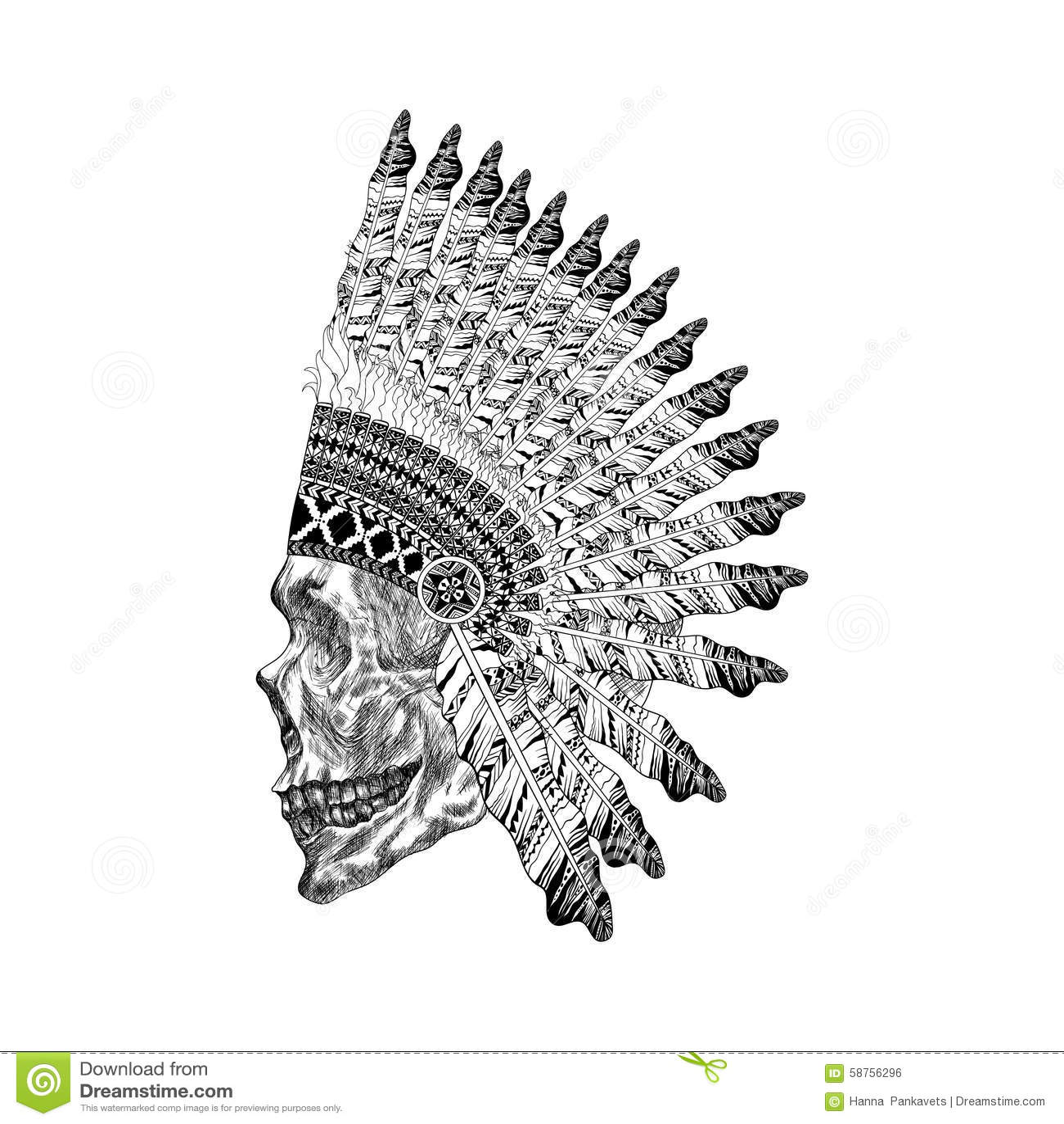 Native American Feathered Headdress Vector Illustration