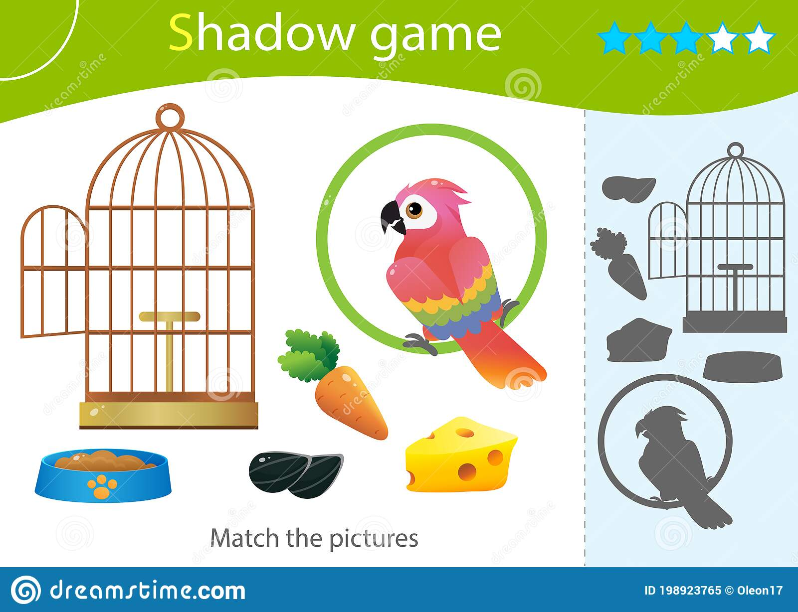 Shadow Game For Kids Match The Right Shadow Color Image