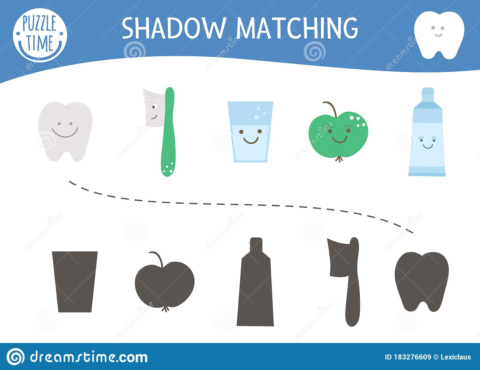 Shadow Matching Activity For Children With Cute Dental