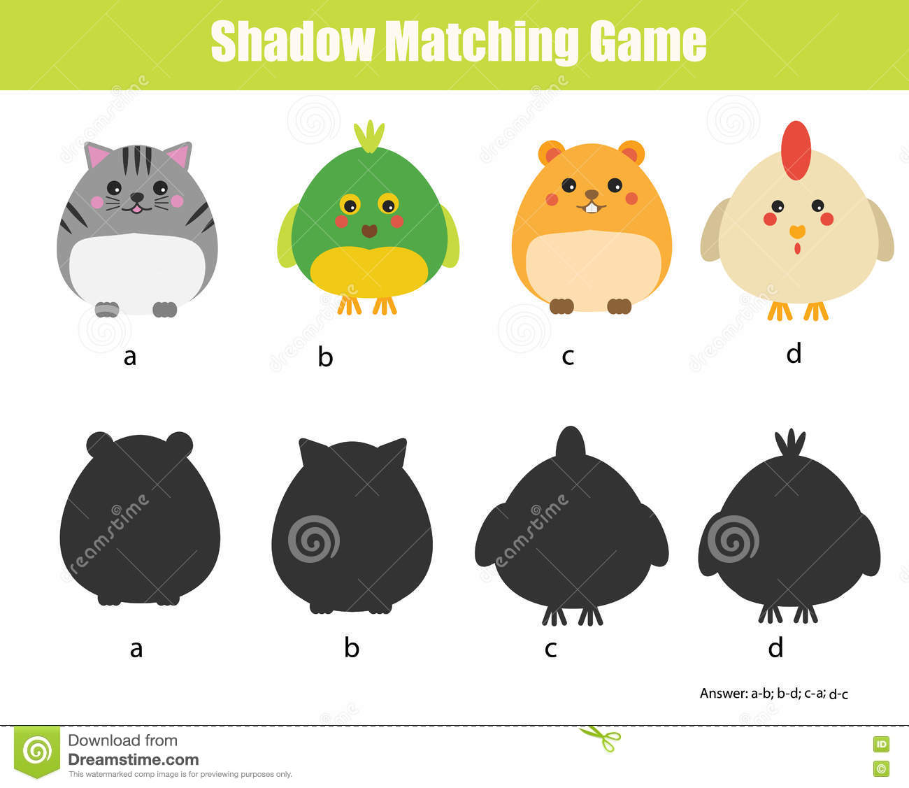 Shadow Matching Game Animals Theme Stock Vector