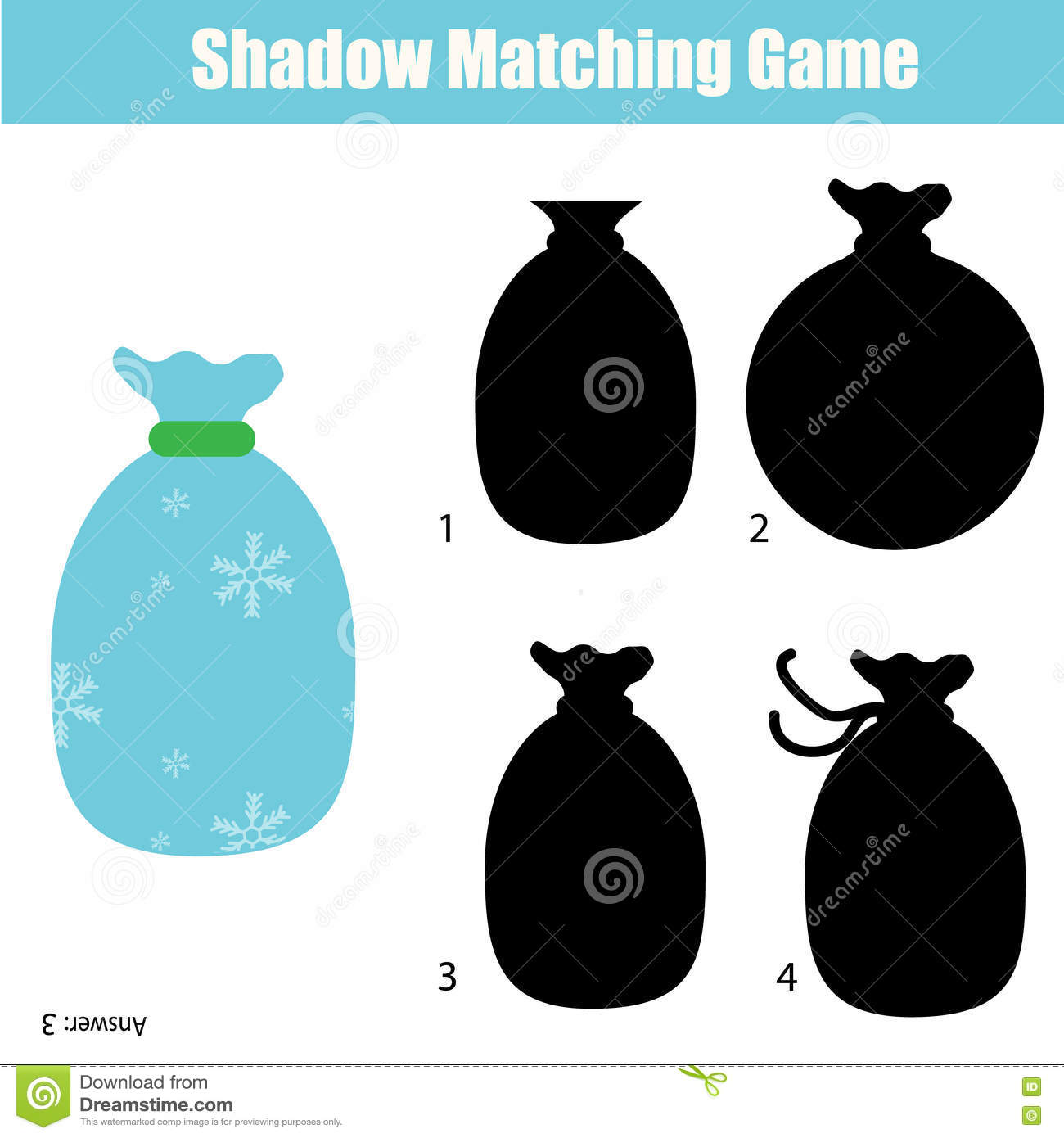 Shadow Matching Game Christmas Theme Kids Activity