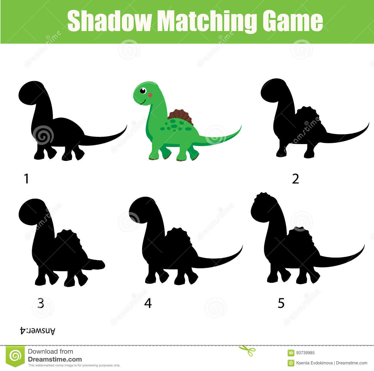 Shadow Matching Game Educational Children Game With Dino